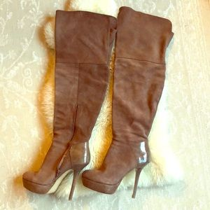 Steve Madden taupe thigh high boots